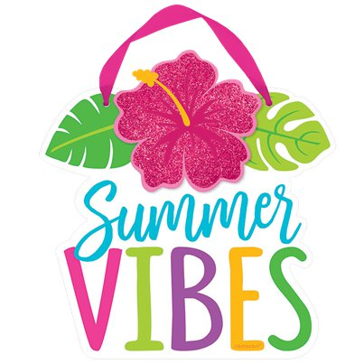 Hawaiian Hibiscus Summer Vibes Mini Sign - 15cm x 15cm