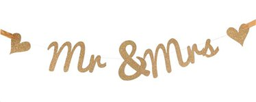 Mr & Mrs Gold Glitter Banner