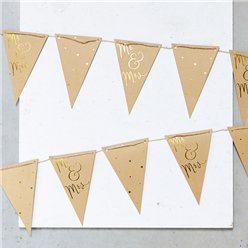 Mr & Mrs Kraft & Gold Bunting - 4m