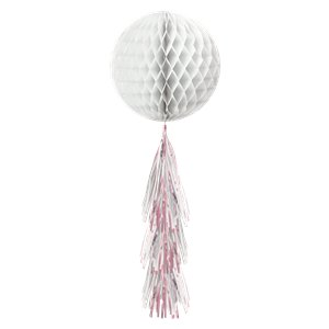 White Honeycomb Ball with Tassel Tail - 71cm
