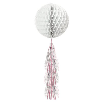 White Honeycomb Ball with Tassel Tail