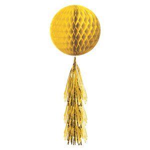 Yellow Honeycomb Ball with Tassel Tail - 71cm