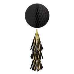 Black Honeycomb Ball with Tassel Tail - 71cm