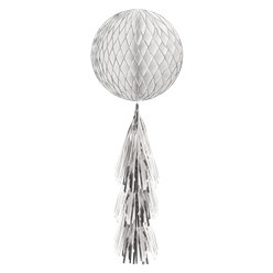 Silver Glitter Honeycomb Ball with Tassel Tail - 71cm