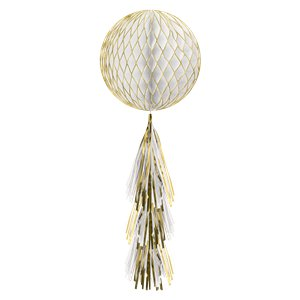 Gold Glitter Honeycomb Ball with Tassel Tail - 71cm