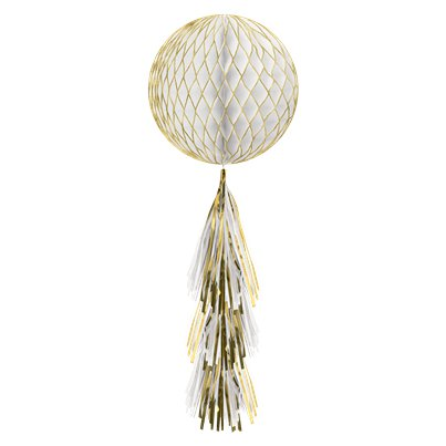Gold Glitter Honeycomb Ball with Tassel Tail