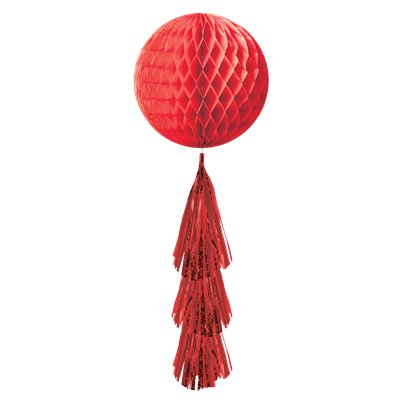 Red Honeycomb Ball with Tassel Tail