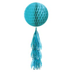 Caribbean Blue Honeycomb Ball with Tassel Tail - 71cm