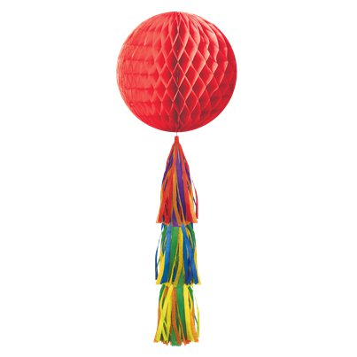 Rainbow Honeycomb Ball with Tassel Tail