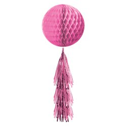 Pink Honeycomb Ball with Tassel Tail - 71cm