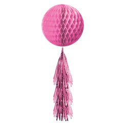 Pink Honeycomb Ball with Tassel Tail