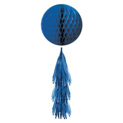 Blue Honeycomb Ball with Tassel Tail - 71cm