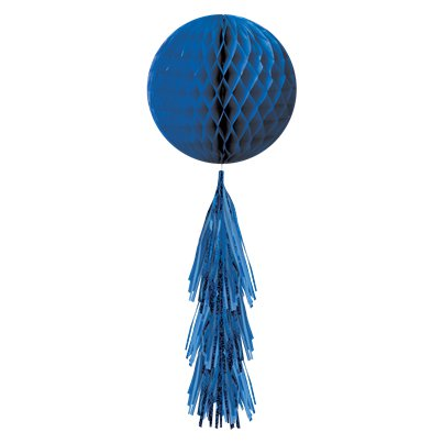 Blue Honeycomb Ball with Tassel Tail