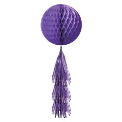 Purple Honeycomb Ball with Tassel Tail - 71cm