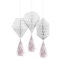 White Mini Honeycombs with Tassels - 30cm