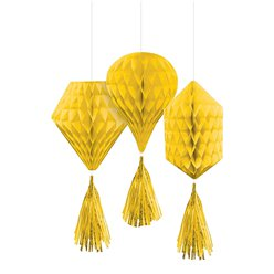 Yellow Mini Honeycombs with Tassels - 30cm