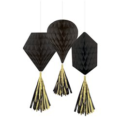 Black Mini Honeycombs with Tassels - 30cm