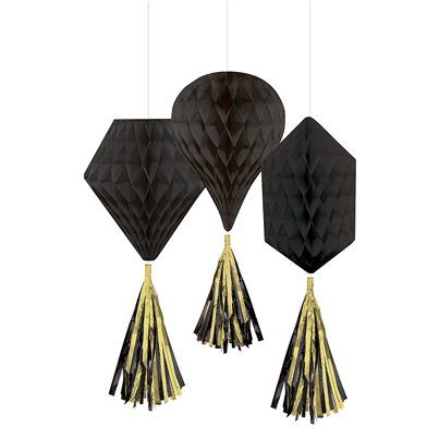 Black Mini Honeycombs with Tassels