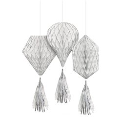 Silver Glitter Mini Honeycombs with Tassels - 30cm