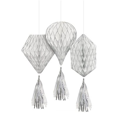 Silver Glitter Mini Honeycombs with Tassels