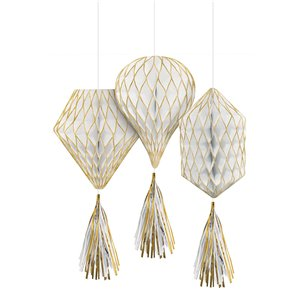 Gold Glitter Mini Honeycombs with Tassels - 30cm