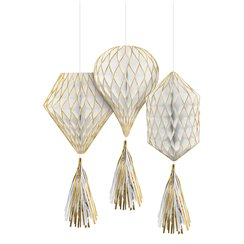 Gold Glitter Mini Honeycombs with Tassels