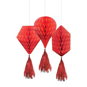 Red Mini Honeycombs with Tassels - 30cm