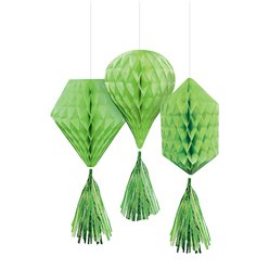 Green Mini Honeycombs with Tassels - 30cm