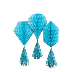 Caribbean Blue Mini Honeycombs with Tassels - 30cm