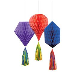 Rainbow Mini Honeycombs with Tassels - 30cm