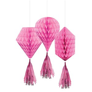Pink Mini Honeycombs with Tassels - 30cm