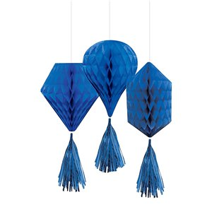 Blue Mini Honeycombs with Tassels - 30cm