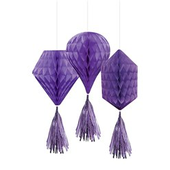 Purple Mini Honeycombs with Tassels - 30cm