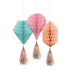 Pastel Mini Honeycombs with Tassels - 30cm