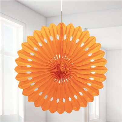 Orange Paper Fan Decoration - 41cm
