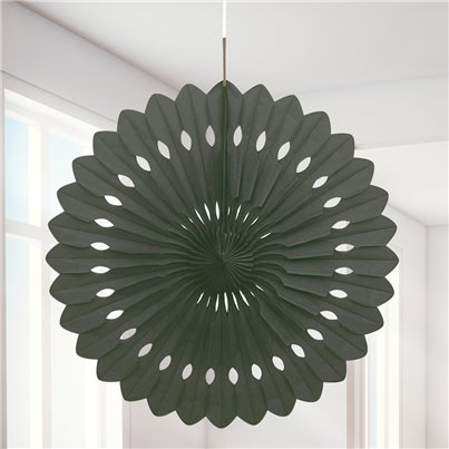 Black Paper Fan Decoration - 41cm