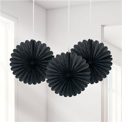Black Mini Paper Fan Decorations - 15cm