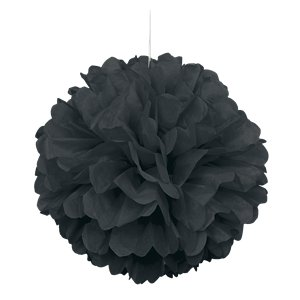 Black Pom Pom Decoration - 41cm
