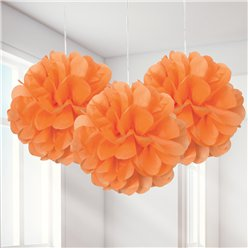 Orange Pom Pom Decorations - 23cm
