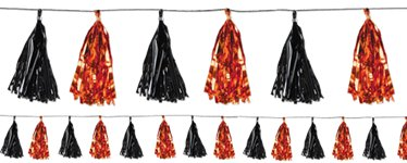 Orange & Black Metallic Tassel Garland - 2.4m