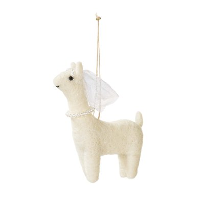 Mrs Llama In Love Mini Felt Decoration