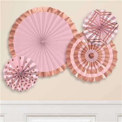 Rose Gold Blush Paper Fans