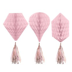 Rose Gold Blush Mini Honeycombs with Tassels - 30cm