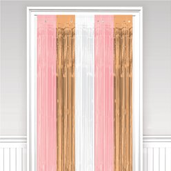 Rose Gold Blush Fringed Door Curtain