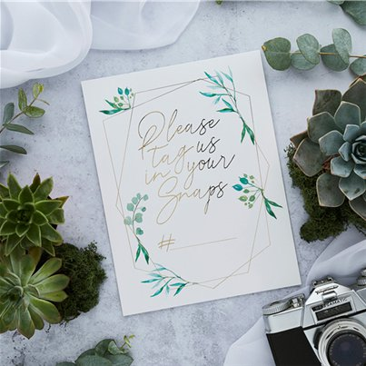 Wedding Geometric Greenery Instagram Signs - 25cm