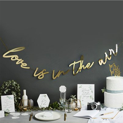 Wedding Gold Love Is In The Air Letter Banner - 2m