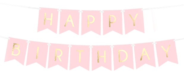 Pastel Pink & Gold Happy Birthday Banner - 1.7m