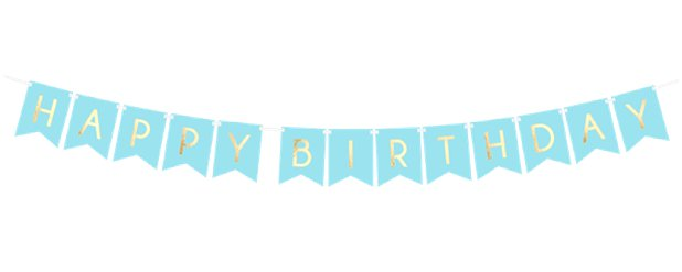 Pastel Blue & Gold Happy Birthday Banner - 1.7m