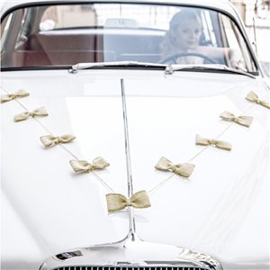 Hessian Bow Wedding Car Decoration Kit