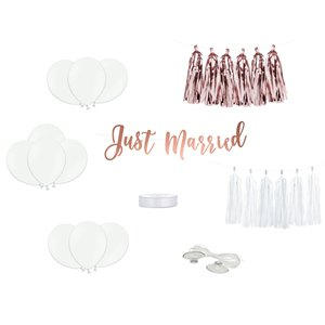 Rose Gold Just Married Wedding Car Decoration Kit